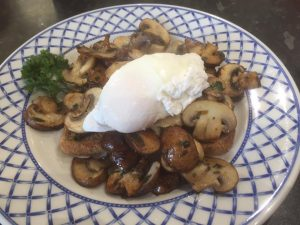 herbie mushrooms on sourdough toast with poached egg